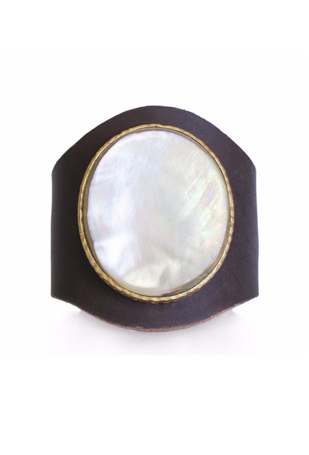 Christina Greene Mother of Pearl Leather Cuff - Front