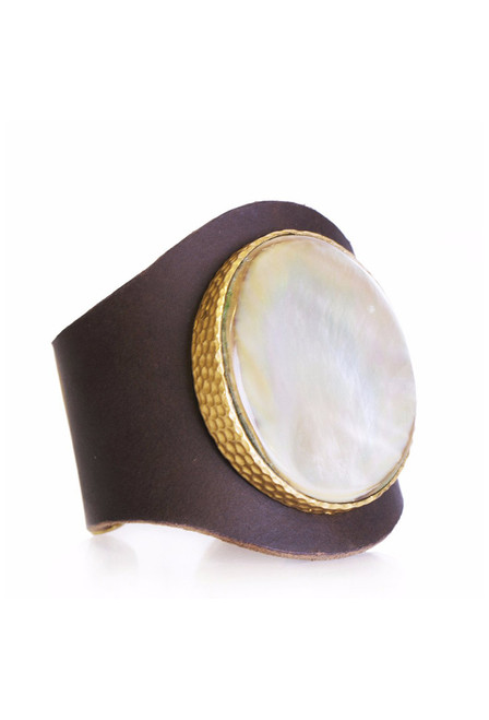 Christina Greene Mother of Pearl Leather Cuff - Back