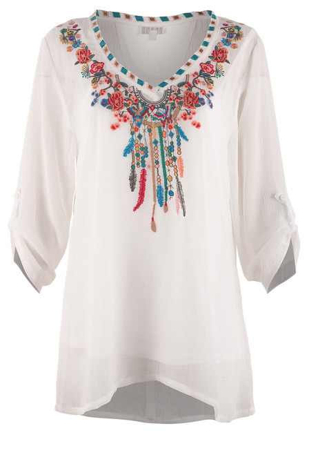 Adore Dream Catcher Embroidered Top - Front
