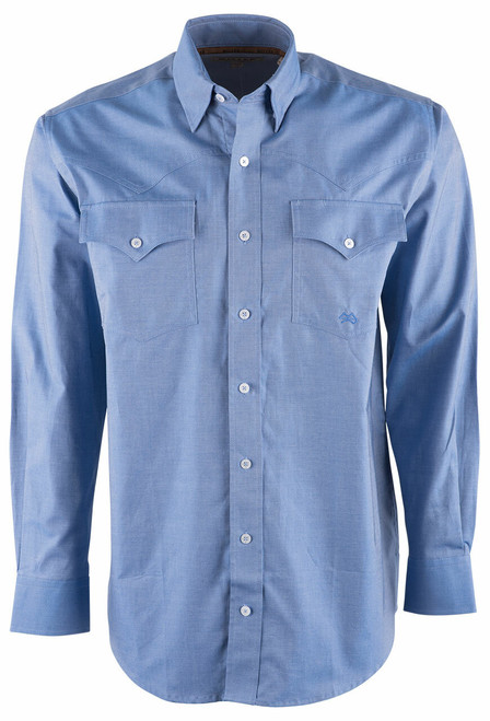 Miller Ranch Blue Twill Button Down Shirt - Front