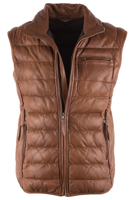 Scully Cognac Ribbed Lamb Leather Vest - Front
