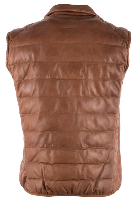Scully Cognac Ribbed Lamb Leather Vest - Back