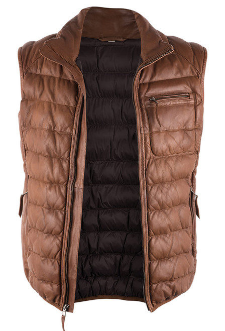 Scully Cognac Ribbed Lamb Leather Vest - Open