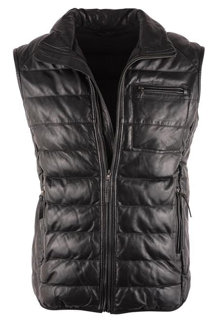 Scully Black Ribbed Lamb Leather Vest - Front