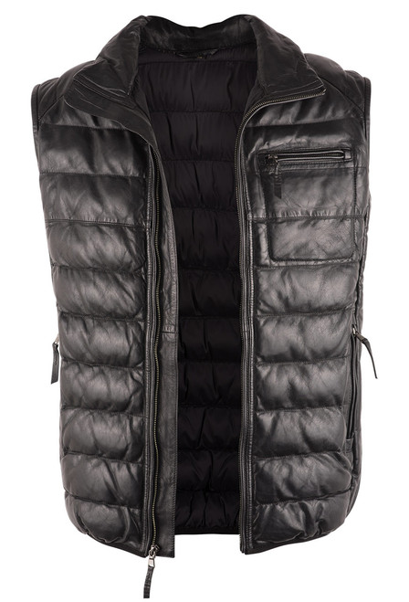 Scully Black Ribbed Lamb Leather Vest - Open