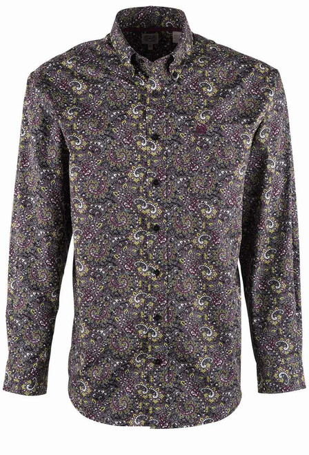 Cinch Black Purple and Lime Paisley Shirt - Front