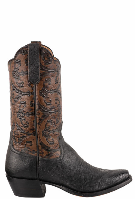 Rios of Mercedes Women's Black Smooth Ostrich and Caramel Old Gate Embossed Cowboy Boots - Side