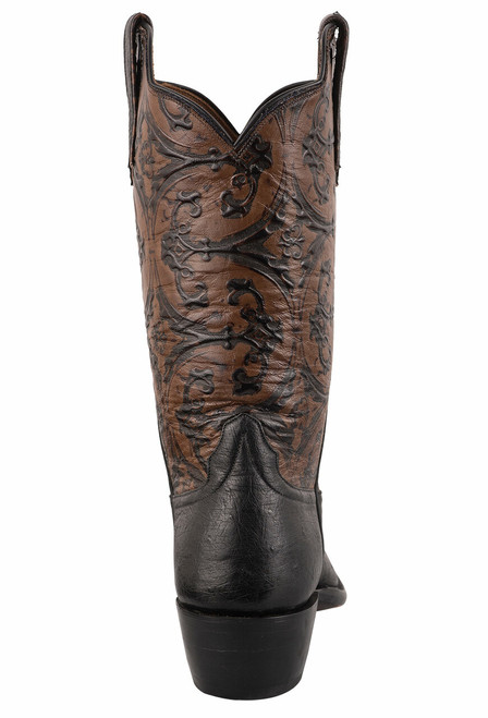 Rios of Mercedes Women's Black Smooth Ostrich and Caramel Old Gate Embossed Cowboy Boots - Back