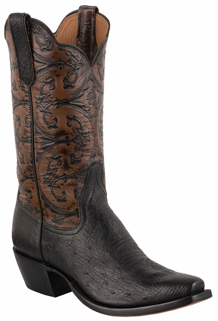 Rios of Mercedes Women's Black Smooth Ostrich and Caramel Old Gate Embossed Cowboy Boots