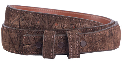 """Handmade Brown Hippo 1 1/4"""" - 1"""" Tapered Leather Belt Strap - Front"""