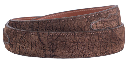 """Handmade Brown Hippo 1 1/4"""" - 1"""" Tapered Leather Belt Strap - Back"""