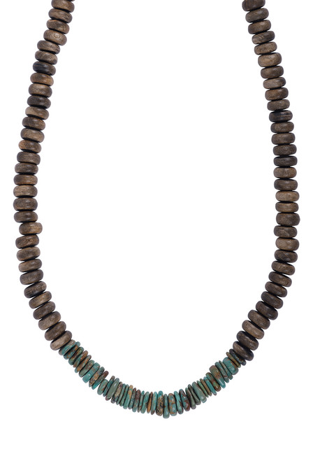 Breathe Deep Designs Brown Buffalo Horn and Heishi Turquoise Necklace - Back