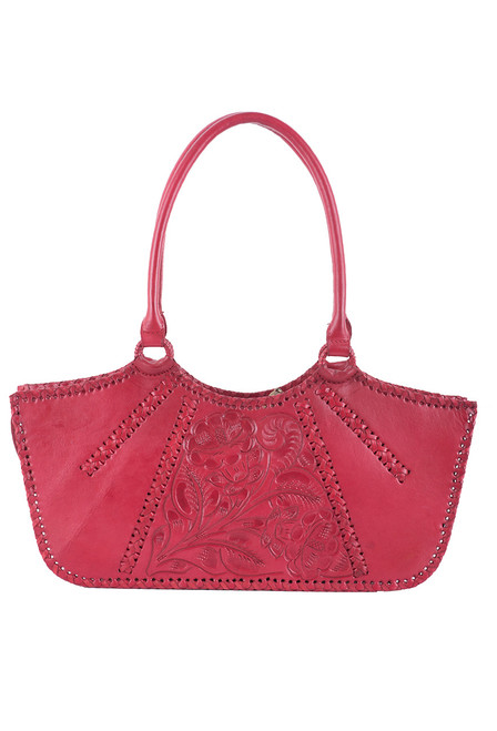 Hide and Chic Valentina Tooled Handbag -Red - Front
