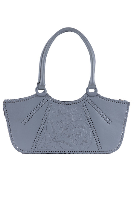 Hide and Chic Valentina Tooled Handbag - Gray - Front