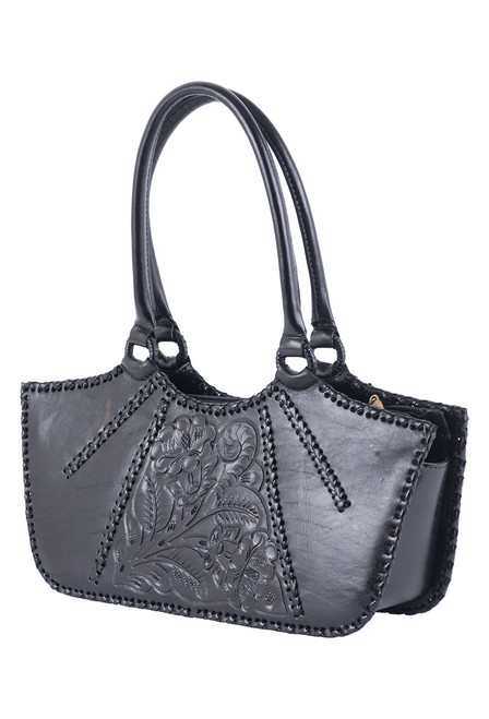 Hide and Chic Valentina Tooled Handbag  - Black - Side