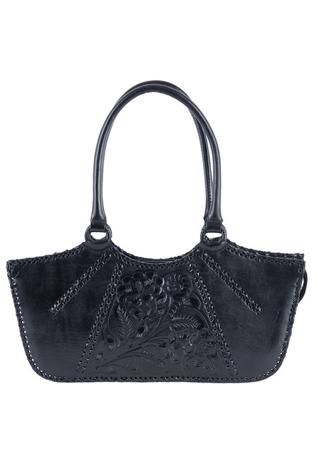 Hide and Chic Valentina Tooled Handbag  - Black - Back