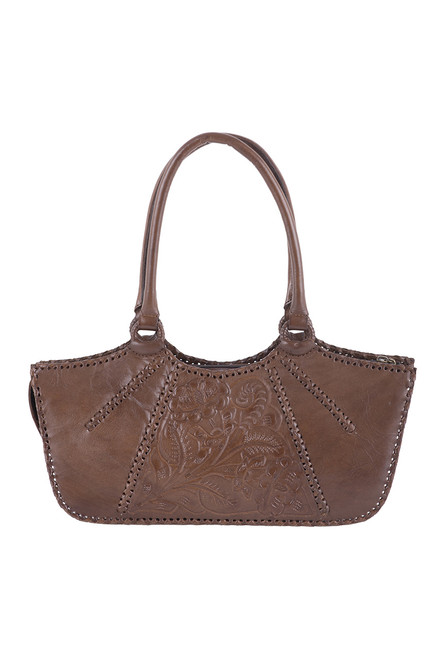 Hide and Chic Valentina Tooled Handbag  - Honey - Front