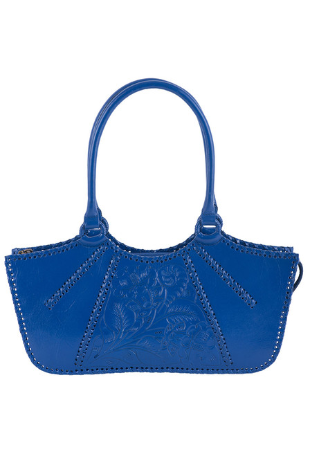 Hide and Chic Valentina Tooled Handbag  - Colbalt - Front