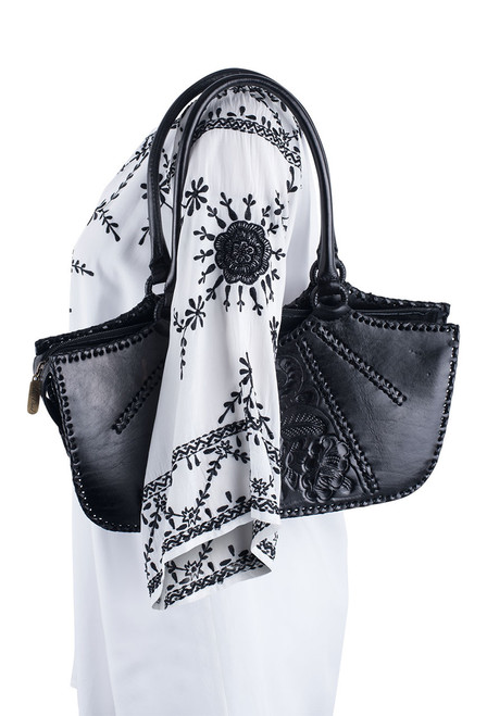 Hide and Chic Valentina Tooled Handbag  - Black - Alternative