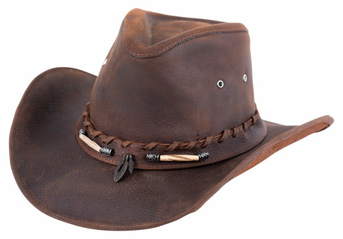Bullhide Briscoe Chocolate Leather Hat - Front