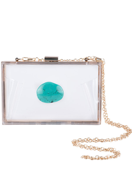 Christina Greene Turquoise Agate Game Day Clutch - Front