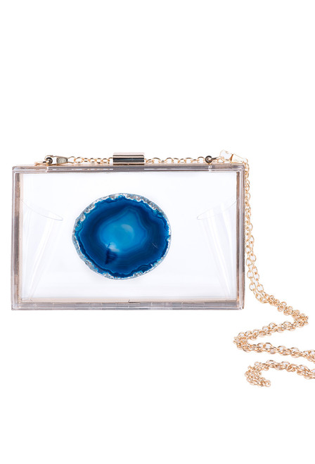 Christina Greene Deep Blue Agate Game Day Clutch - Front