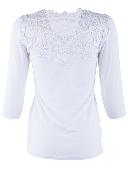 Arianne 3/4 Sleeve Top With Lace  - Back
