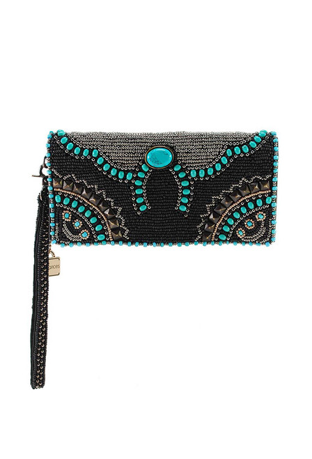 Mary Frances Squash Blossom Beaded Crossbody Wallet - Front