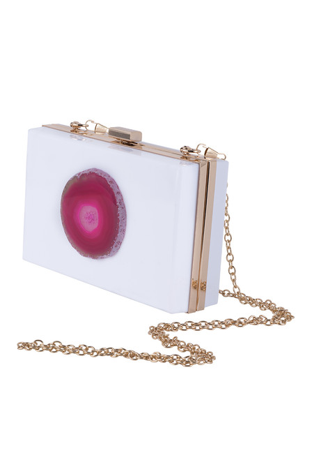 Christina Greene Pink and White Evening Clutch - Side