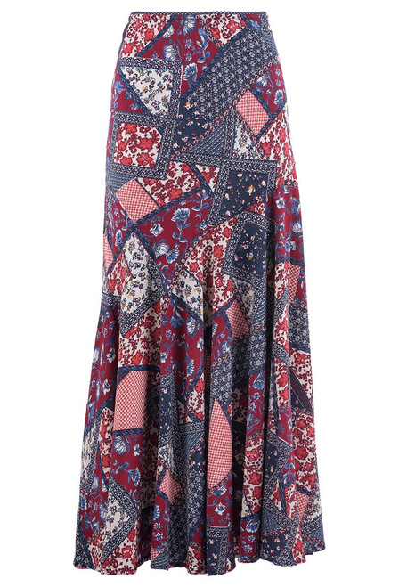 Lola P Floral Red and Blue Floral Patchwork Skirt - front