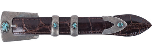 """Chacon Aztec Florentine 1"""" 4-Piece Buckle Set with Turquoise"""