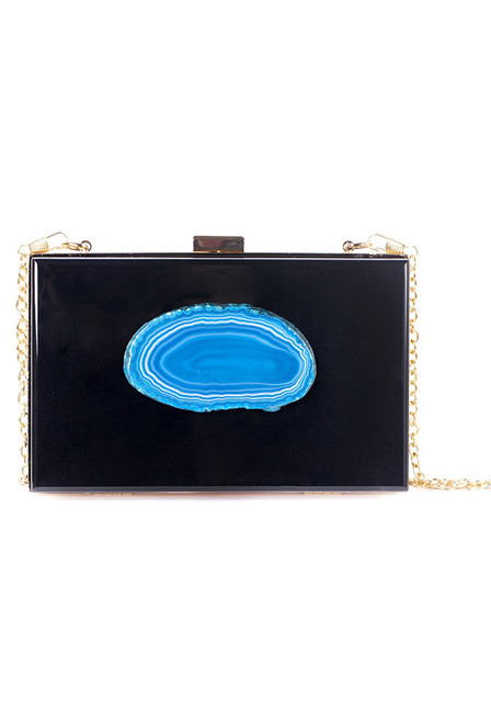Christina Greene Black & Teal Agate Evening Clutch