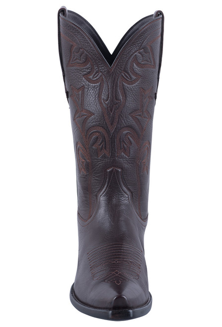 Stallion Chocolate Italian Calf Cowgirl Boots - Front