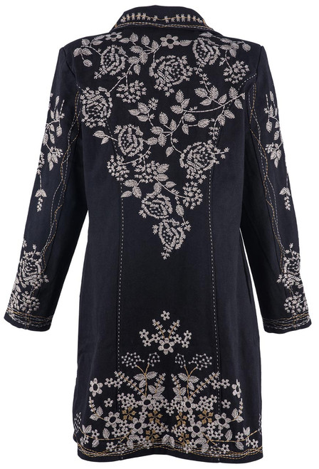 Paparazzi by Biz Natural Embroidered Black Coat - Back