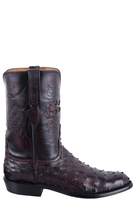 Lucchese Men's Black Cherry Hand Stained Full Quill Ostrich Roper Boots - Side
