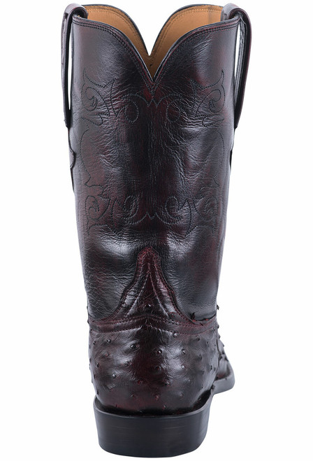 Lucchese Men's Black Cherry Hand Stained Full Quill Ostrich Roper Boots - Back