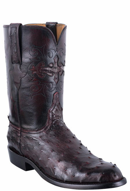 Lucchese Men's Black Cherry Hand Stained Full Quill Ostrich Roper Boots