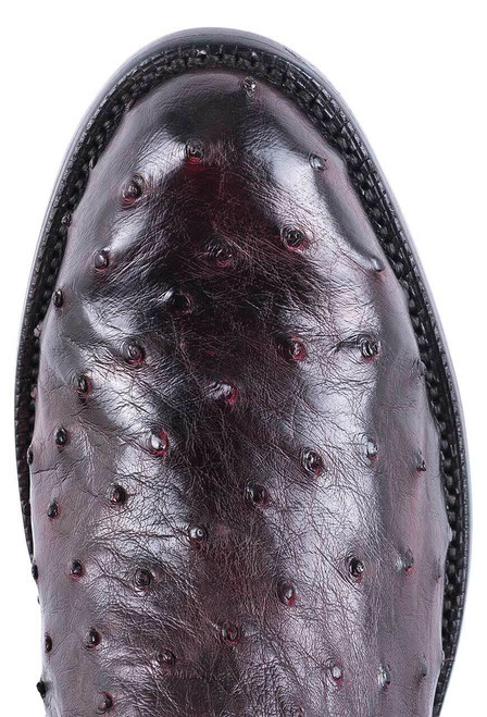 Lucchese Men's Black Cherry Hand Stained Full Quill Ostrich Roper Boots - Toe
