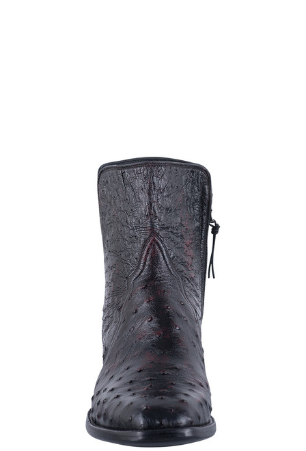 Stallion Men's Black Cherry Full Quill Ostrich Zorro Boots - Front