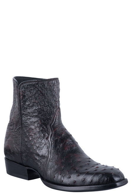 Stallion Men's Black Cherry Full Quill Ostrich Zorro Boots
