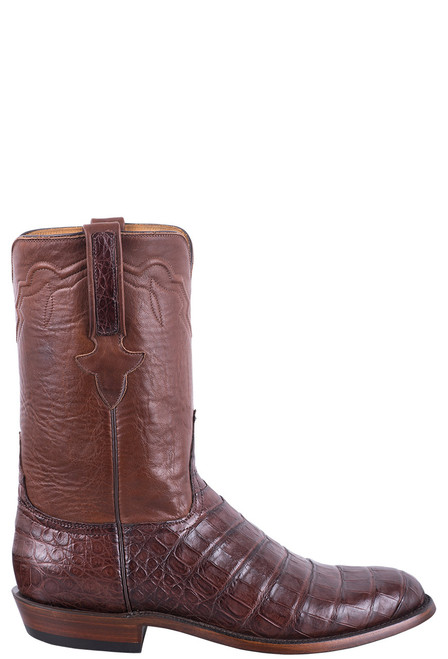 Lucchese Men's Executive Barrel Brown Ultra Caiman Roper Boots - Side