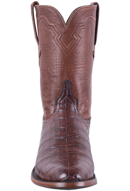 Lucchese Men's Executive Barrel Brown Ultra Caiman Roper Boots - Front