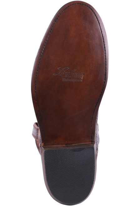 Lucchese Men's Executive Barrel Brown Ultra Caiman Roper Boots - Sole