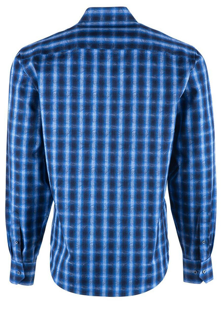 Bugatchi Navy Overlan Ombre Plaid Shirt - Back