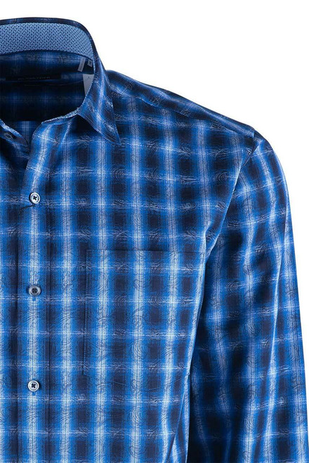 Bugatchi Navy Overlan Ombre Plaid Shirt - Pocket
