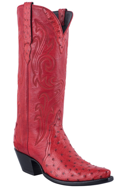 Stallion Red Full Quill Ostrich Gallegos Cowgirl Boots - Hero