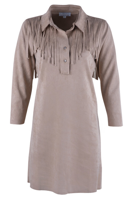 W.A.Y. Women's Long Collared Fringe Shirt - Front