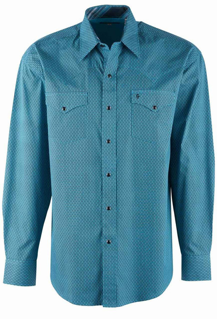 Stetson Blue High Fidelity Print Snap Shirt - Front