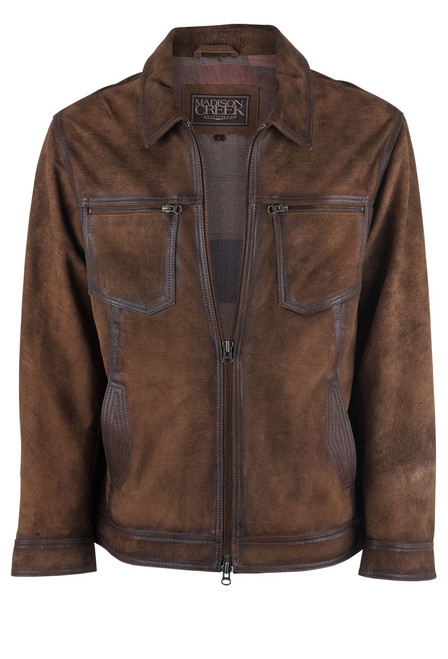 Madison Creek Distressed Brown Jungle Suede Steamboat Jacket - Front