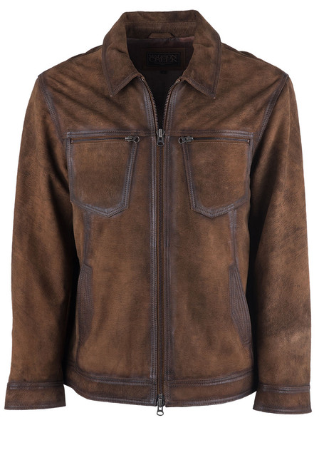 Madison Creek Distressed Brown Jungle Suede Steamboat Jacket